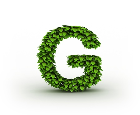 Letter  G, alphabet of green leaves