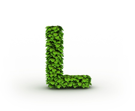 ecologist:  Letter  L, alphabet of green leaves Stock Photo