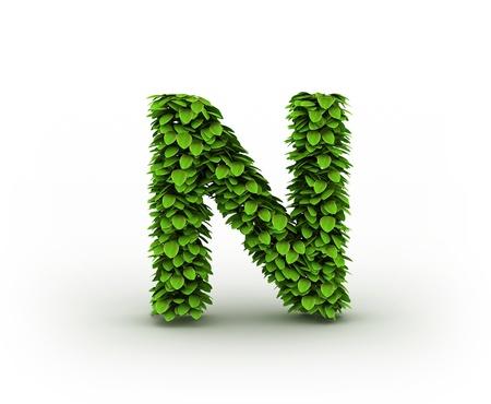 grass font:  Letter  N, alphabet of green leaves Stock Photo