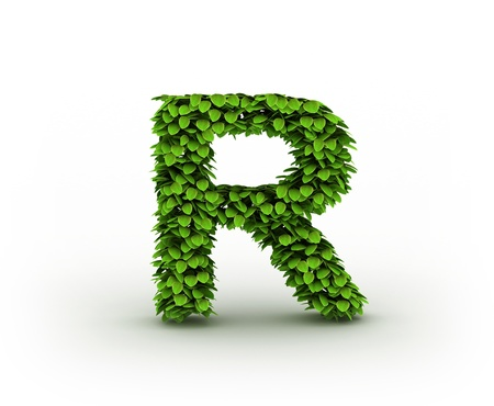 Letter  R, alphabet of green leaves