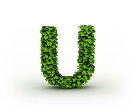letter u:  Letter  U, alphabet of green leaves