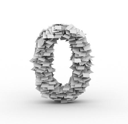 Big pile of paper number 0 symbol  photo