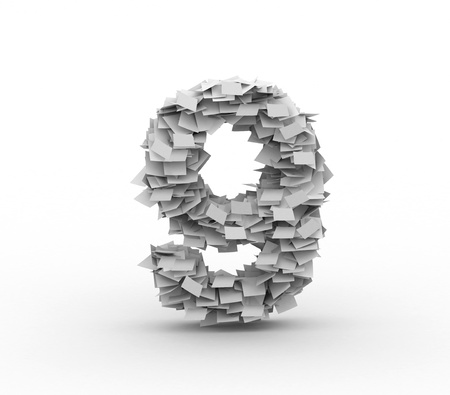 Big pile of paper, number 9 Stock Photo - 12977657