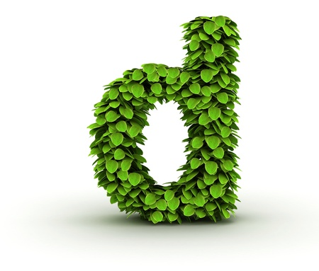 letter d: Letter  d, alphabet of green leaves isolated on white background, lowercase