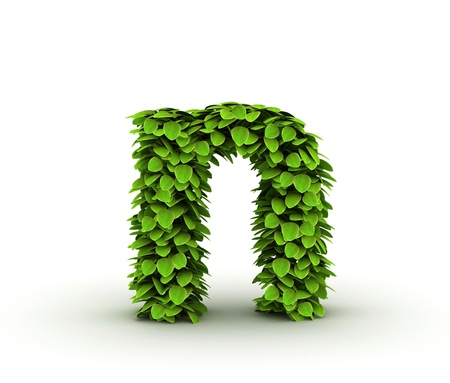letter n: Letter n, alphabet of green leaves isolated on white background, lowercase