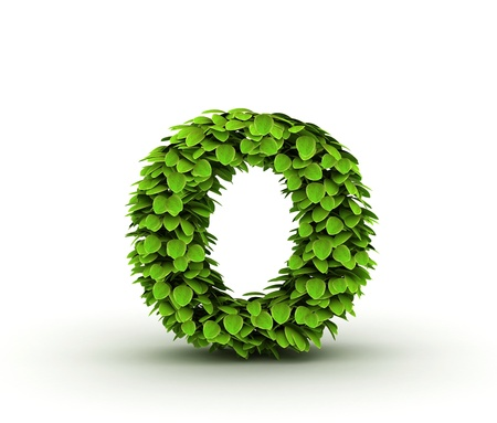 Letter o, alphabet of green leaves isolated on white background, lowercase