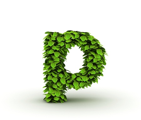 Letter p, alphabet of green leaves isolated on white background, lowercase photo
