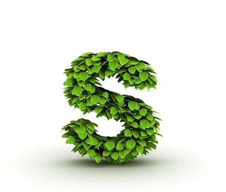 letra s: Carta s, alfabeto de hojas verdes aisladas sobre fondo blanco, min�sculas