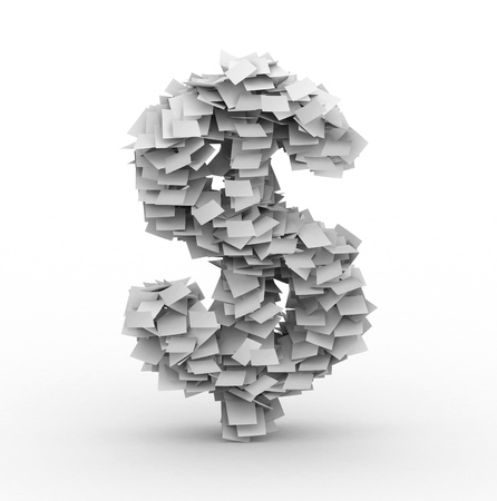 manage clutter: Dollar sign, stacked from paper sheets Stock Photo
