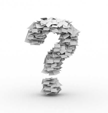 manage clutter: Question mark symbol, stacked from paper sheets Stock Photo