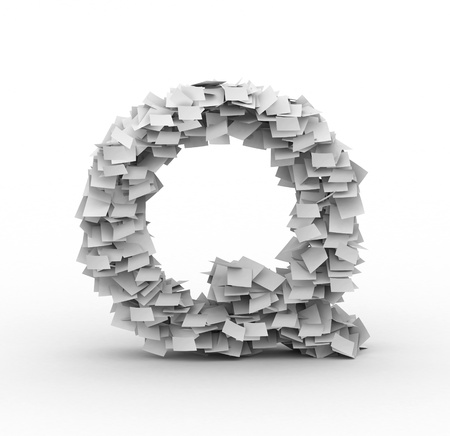 Alphabet maked from paper sheets in stack photo