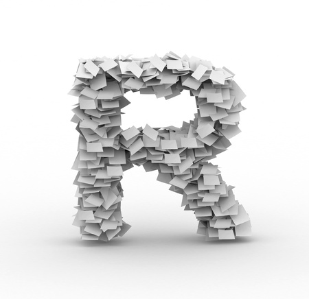 manage clutter: Alphabet maked from paper sheets in stack
