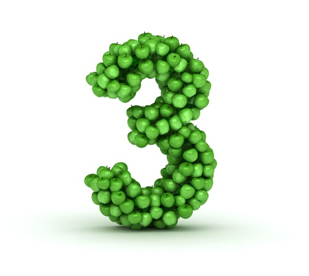 number three: Number 3, alphabet of green apples