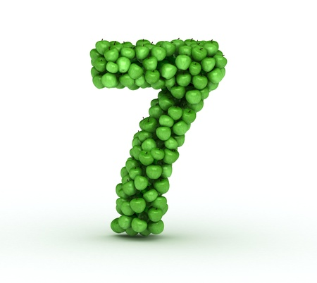 Number 7, alphabet of green apples Stock Photo - 13231163