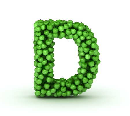 vitamin d: Alphabet of green apples isolated on white background Stock Photo