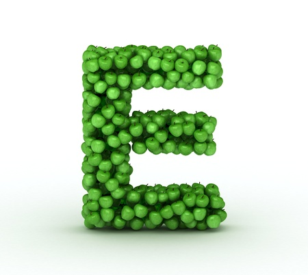 letter e: Alphabet of green apples isolated on white background Stock Photo