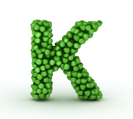 letter k: Alphabet of green apples isolated on white background Stock Photo