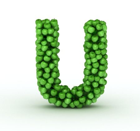 letter u: Alphabet of green apples isolated on white background Stock Photo