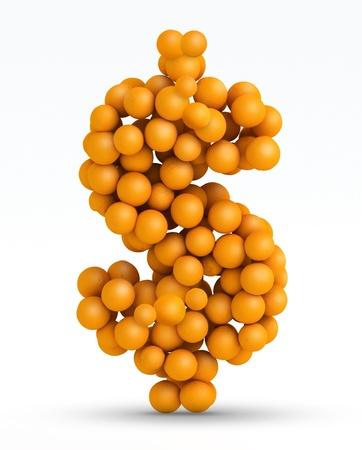 natural juices: Dollar sign , font of orange citrus fruits on white background