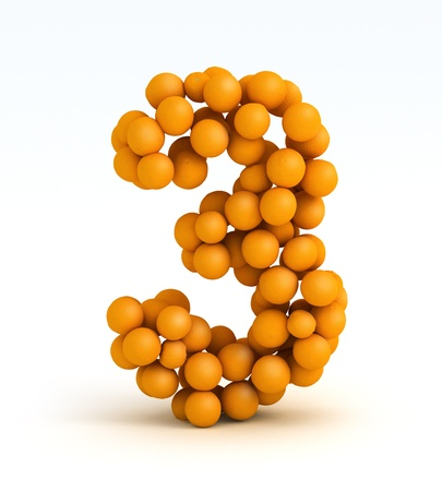 Number 3, font of orange citrus fruits on white background photo