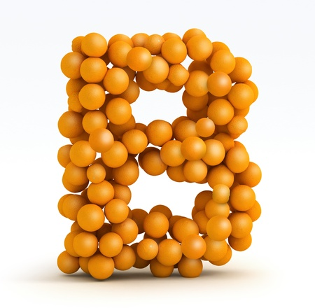 Letter B, font of orange citrus fruits on white background photo