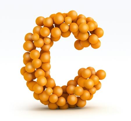 c vitamin: Letter C, font of orange citrus fruits on white background