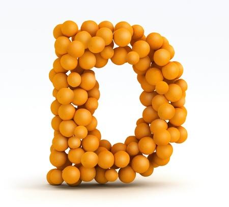 Letter D, font of orange citrus fruits on white background Stock Photo - 13285556