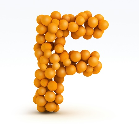 Letter F, font of orange citrus fruits on white background photo