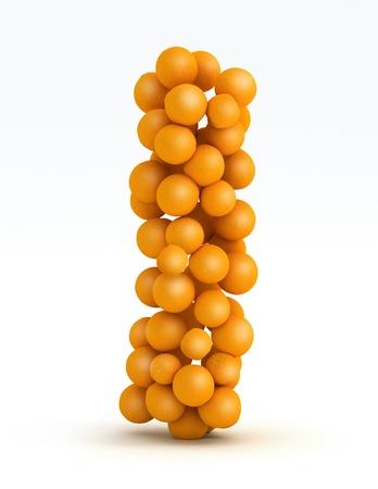 mandarin orange: Letter I, font of orange citrus fruits on white background