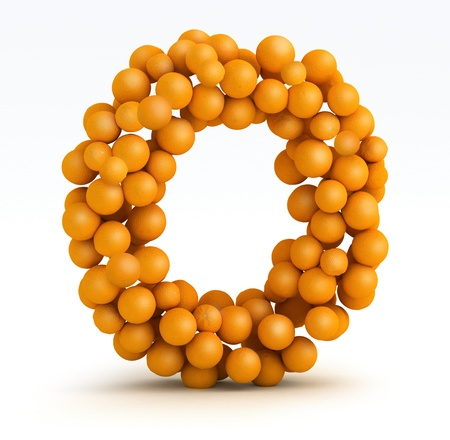 Letter O, font of orange citrus fruits on white background