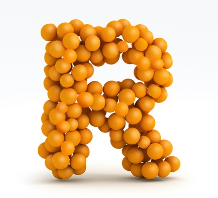 Letter R, font of orange citrus fruits on white background photo