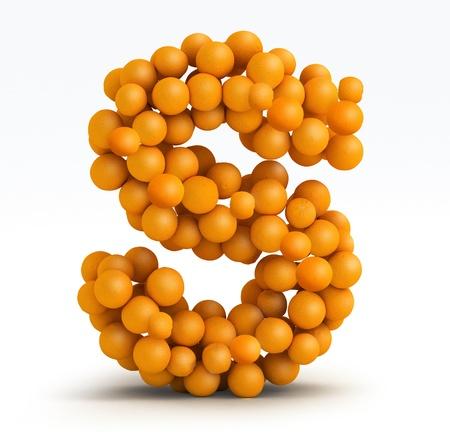 letra s: Letra S, la fuente de los c�tricos de naranja sobre fondo blanco