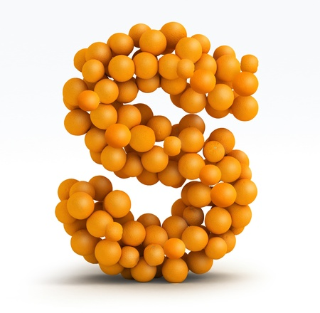 Letter S, font of orange citrus fruits on white background photo