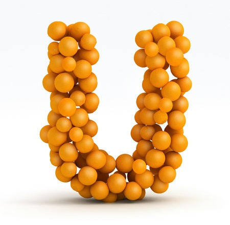 Letter U, font of orange citrus fruits on white background photo