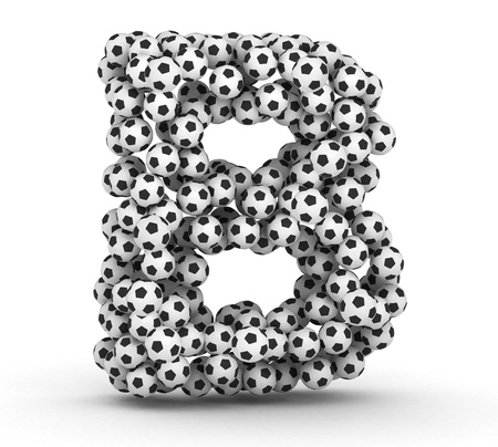 Letter B from soccer football balls isolated on white background photo