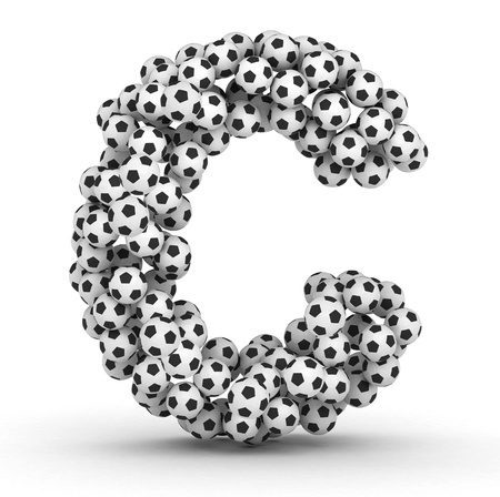 Letter C from soccer football balls isolated on white background photo