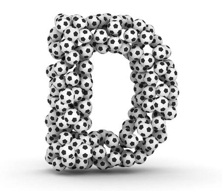 letter d: Letter D from soccer football balls isolated on white background