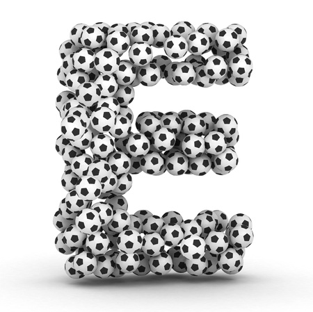 soccerball: Letter E from soccer football balls isolated on white background