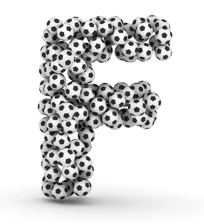 Letter F from soccer football balls isolated on white background photo