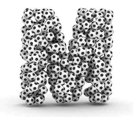letra m: Letra M del f�tbol pelotas de f�tbol aislados sobre fondo blanco