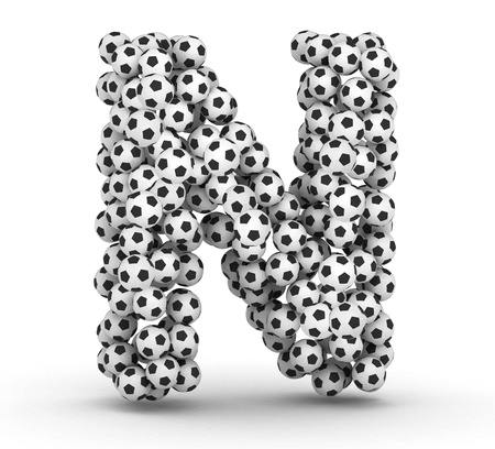 Letter N from soccer football balls isolated on white background Stock Photo