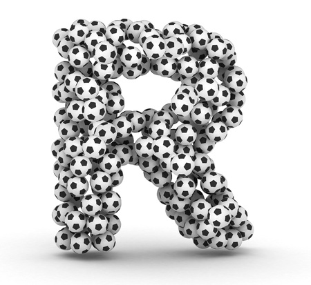 Letter R from soccer football balls isolated on white background