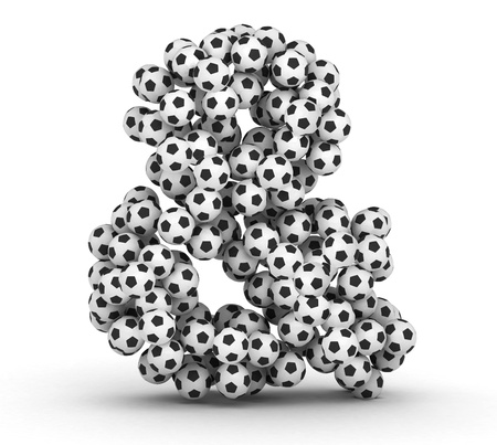 Ampersand sign  from soccer football balls isolated on white background photo