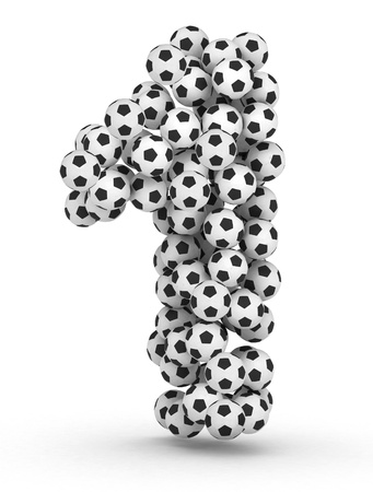Number 1 from soccer football balls isolated on white background Imagens