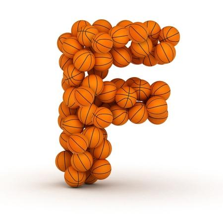 basketball ball: Letter F, basketball alphabet