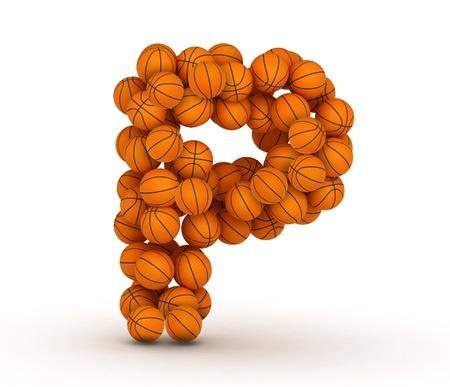 basketball ball: Letter P, basketball alphabet