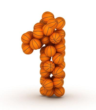 basketball ball: Number 1, basketball alphabet Stock Photo