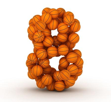 8 ball: Number 8, alphabet from basketball balls