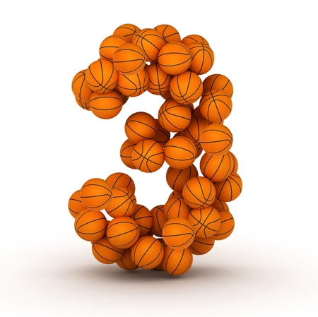 Number 3, basketball alphabet Stock Photo