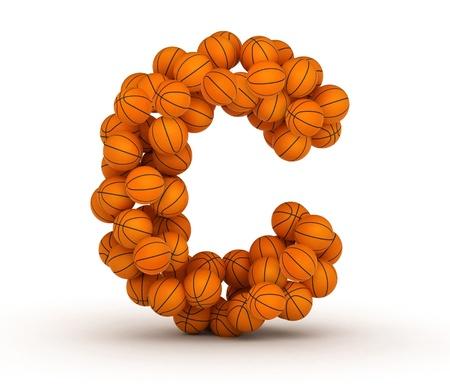 Letter C, alphabet from basketball balls Imagens